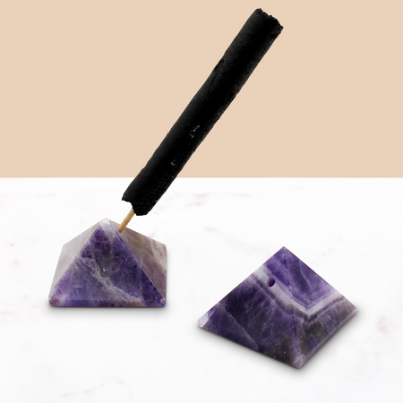 Crystal Pyramid Incense Stand: Amethyst