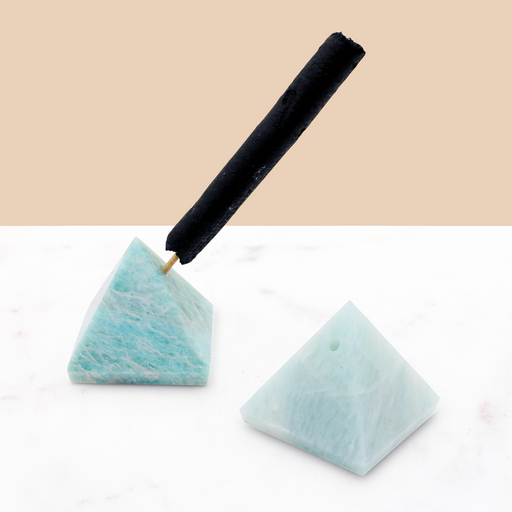 Crystal Pyramid Incense Stand: Amazonite