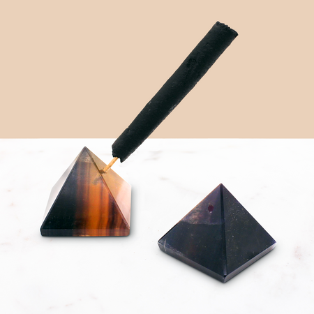 Crystal Pyramid Incense Stand: Fluorite