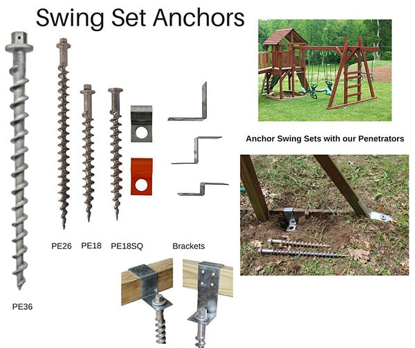 Swing Set Anchors - Secure into Ground without Concrete