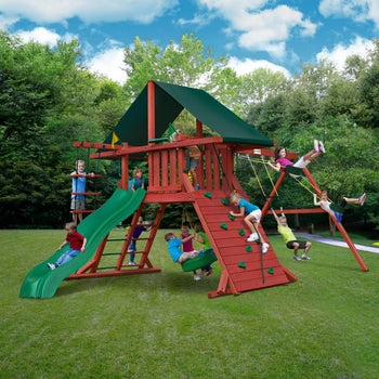 Sun Climber I Backyard Wooden Swing Set Playset with Tire Swing & Wave Slide
