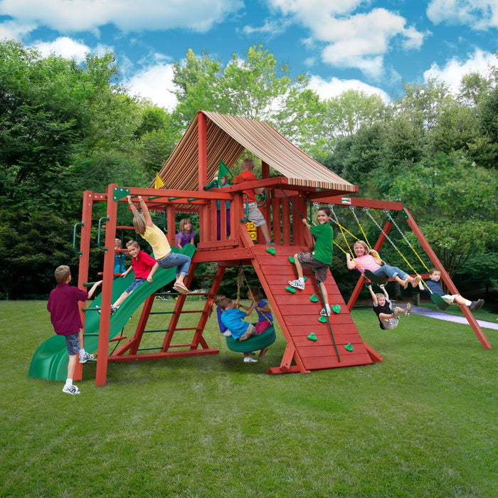 Sun Climber II Wooden Swing Set with Monkey Bars