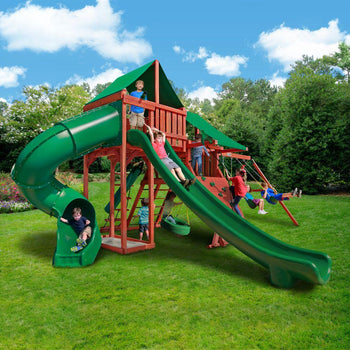 Sun Valley Deluxe Backyard Wooden Swing Set Gorilla Playsets