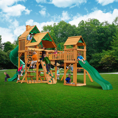 Treasure Trove Deluxe AP Wooden Swing Set - Green Canopy | WillyGoat Playground & Park Equipment