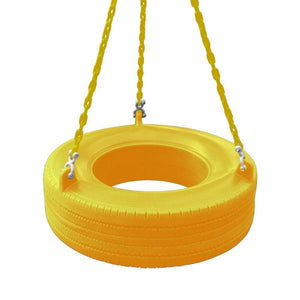 Residential Plastic Tire Swing Yellow with Chain