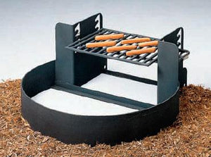 Fire Ring And Grill With Adjustable Grate 7 High Set Of 2