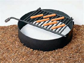 "Fire Ring with Flip-back Grate 7"" High with 300 Square Inch Cook Area, Set Of 2"