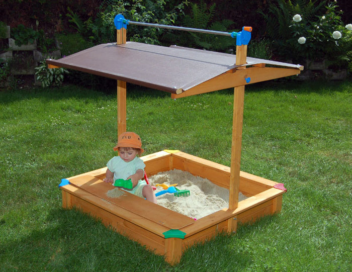 Maxi Sandbox With Adjustable Roof And Toy Storage Box