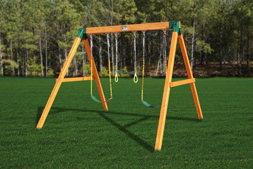 Free Standing Three Position Wooden Swing Set