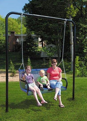 In-ground Steel Lawn Swing and Frame with Diamond or Wave Plank (4 or 6 Feet Long) | WillyGoat Playground & Park Equipment