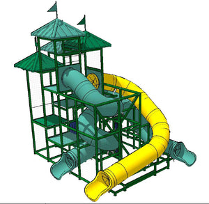 Commercial Water Slide 302 170131 With Three Slides