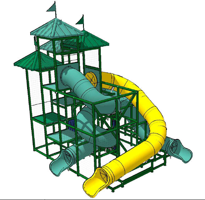 Commercial Water Slide 302 (with Three Slides)