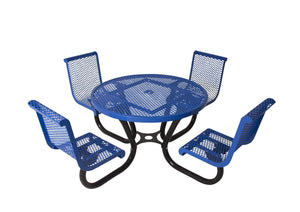 Round Portable Diamond Picnic Table with Contoured Seats