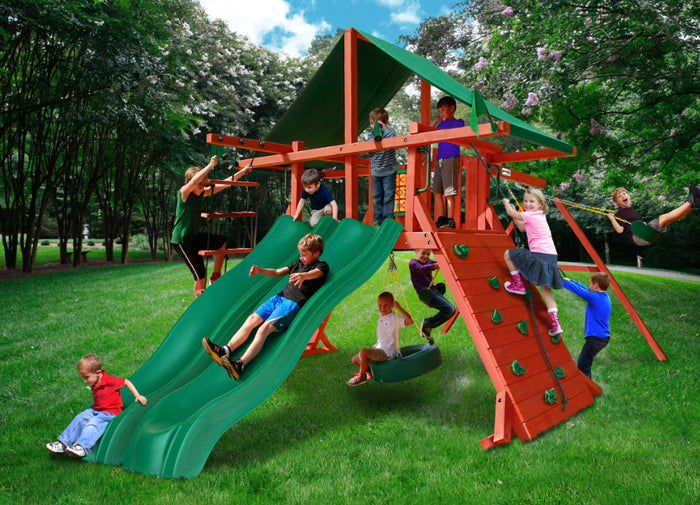Sun Valley Extreme Wooden Swing Set - Green Vinyl Canopy