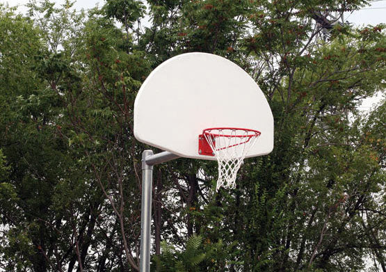 Sturdy Basketball Goal, Adjustable or Permanent, with Backboard Options