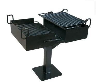 Dual Grate Cantilever Grill with 1,064 Square Inch Cook Area, In-ground Mount