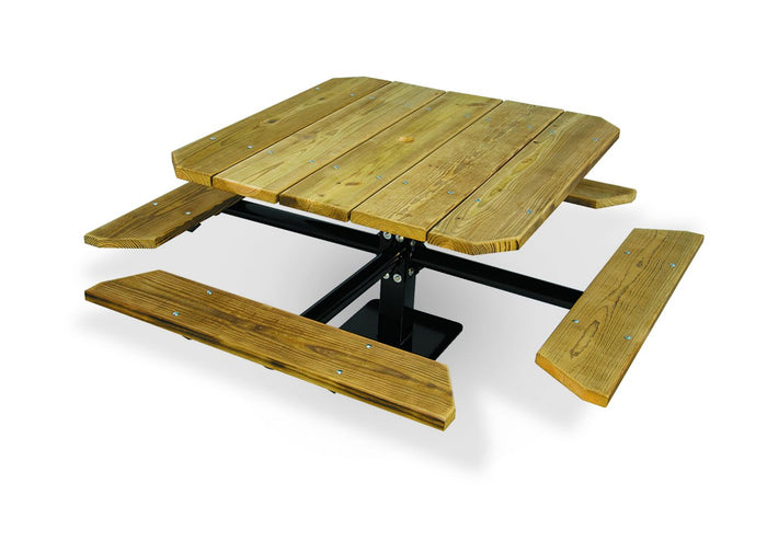 ADA 2 Seat Wooden Single Pedestal Table