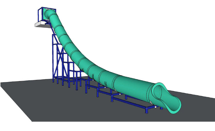 Commercial Water Slide Straight 17 Foot High 42 Foot Long