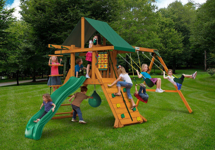 High Point Wooden Swing Set - Green Vinyl Canopy