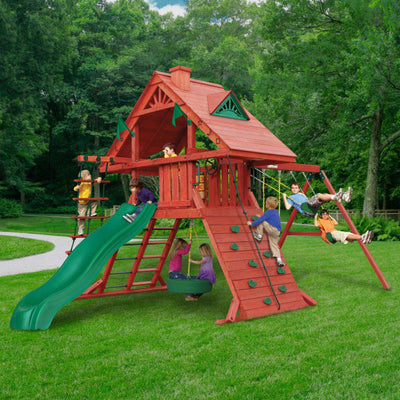 Sun Palace Wooden Swing Set - Standard Wood Roof | WillyGoat Playground & Park Equipment
