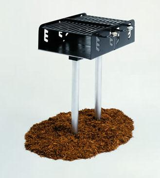 Dual Grate Pedestal Grill with 550 Square Inch Cook Area, In-ground Mount