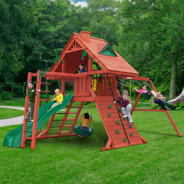 Sun Palace II Wooden Swing Set With Monkey Bars - Standard Wood Roof