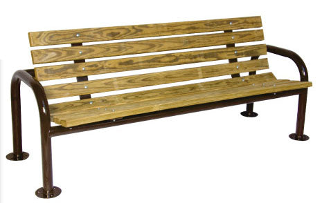 Double Post Contour Park Bench Recycled Plastic (6' Long), Surface or In-ground Mount