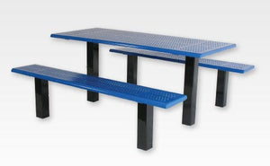 Straight Post Picnic Table 6 Foot - Perforated Steel