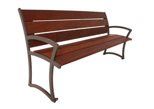 Madison Bench with Back - Ipe Wood | WillyGoat Playground & Park Equipment