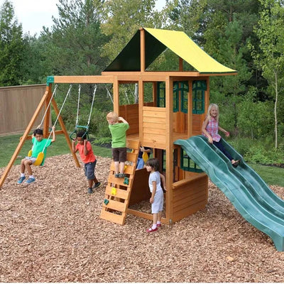 .Treasure Cove Wooden Swing Set With 2 Slides