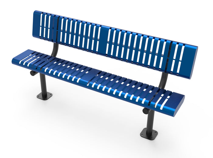 Horizontal Slat Bench with Back