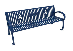 Wilmington Awareness Vertical Slat Bench | WillyGoat Playground & Park Equipment