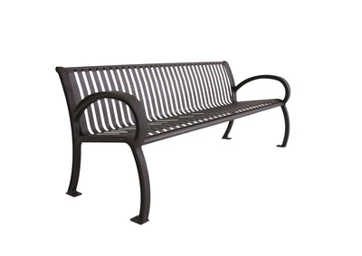 Wilmington Vertical Slat Bench with Back | WillyGoat Playground & Park Equipment