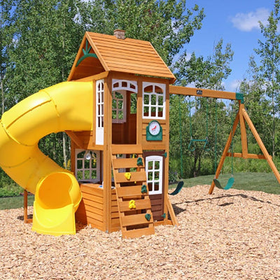 Creston Lodge Wooden Swing Set | WillyGoat Playground & Park Equipment