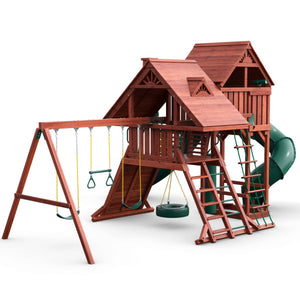 Sun Palace Deluxe Wooden Swing Set - Standard Wood Roof