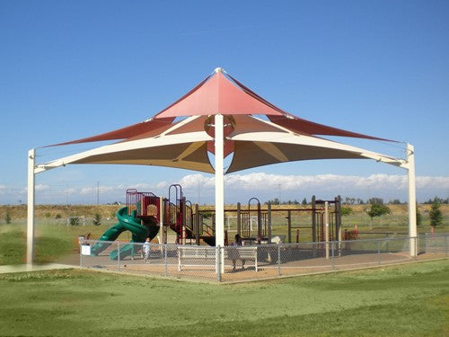 Superspan Multi-Level Multi-Panel Pyramid Shade Structure