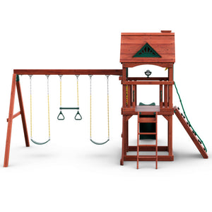 Nantucket Wooden Swing Set - Standard Wood Roof | WillyGoat Playground & Park Equipment