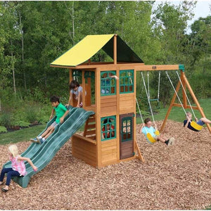 Treasure Cove Wooden Swing Set | WillyGoat Playground & Park Equipment