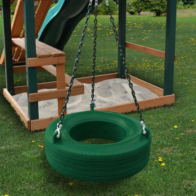 Residential Plastic Tire Swing Green with Chain