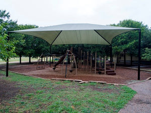 Hip Roof Shade Structure with 4 Posts and 12 Foot Entry | WillyGoat Parks and Playgrounds