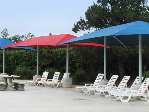 Hip Roof Shade Structure with 2 Posts