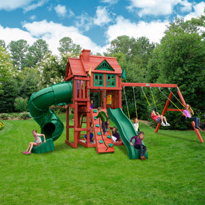 Nantucket Deluxe Wooden Swing Set | WillyGoat Playground & Park Equipment