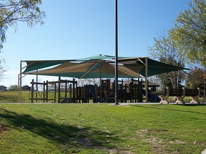Mariner Hexagon Shade Structure with 6 Posts | WillyGoat Parks and Playgrounds