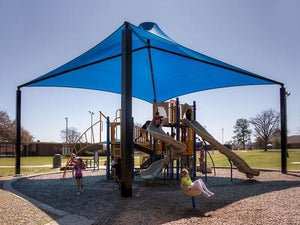 Sahara Roof Shade Structure with 4 Posts and 14' Entry | WillyGoat Parks and Playgrounds