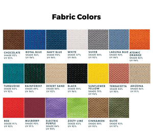 Shade available fabric colors & options