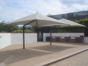 Single Post Pyramid Cantilever Shade Structure | WillyGoat Parks and Playgrounds
