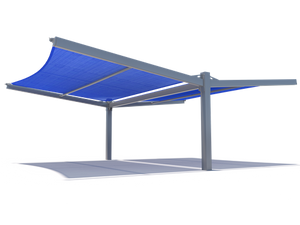 Slanted Cantilever Wing Cabled Double Wide Shade Structure Perspective View
