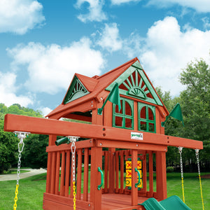 Five Star II Space Saver Wooden Swing Set - Standard Wood Roof