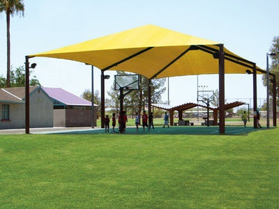 Extended Superspan Hip Roof Shade Structure 6 Posts | WillyGoat.com