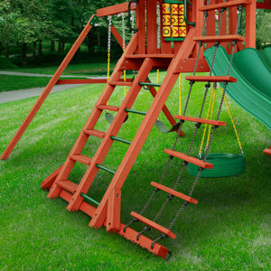 Sun Palace II Wooden Swing Set With Monkey Bars - Standard Wood Roof | WillyGoat Playground & Park Equipment